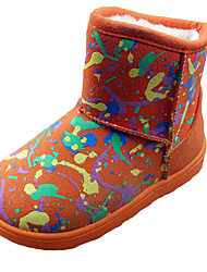 Girl's Boots Fall Winter Comfort Fabric Dress Casual Flat Heel Others Black Pink Red Orange Walking