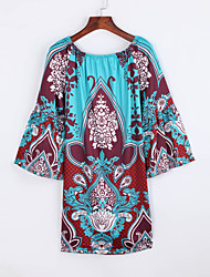 Women's Boho Print Loose Dress,Boat Neck Mini Polyester