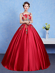 Formal Evening Dress Ball Gown Jewel Floor-length Jersey with Appliques / Beading