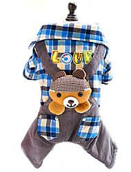 Hunde Kostüme / T-shirt / Overall Blau / Rose Hundekleidung Winter / Frühling/Herbst Plaid/Karomuster Niedlich / Cosplay / Modisch