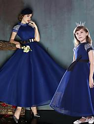 A-ligne haute cou longueur de cheville polyester charmeuse robe de soirée avec perles