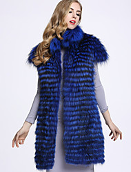 BF-Fur Style  Women's Casual/Daily Sophisticated Fur CoatSolid Turtleneck Sleeveless Blue / Gray / Purple Fox Fur