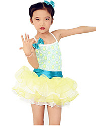 MiDee Dresses Performance Spandex / Tulle Bow(s) / Paillettes / Sequins / Tiers 2 Pieces Ballet Sleeveless NaturalDress