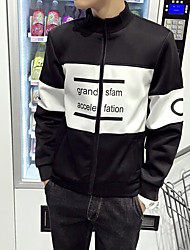 Men's Casual/Daily Simple Jackets,Striped Stand Long Sleeve Fall Black Polyester Thin