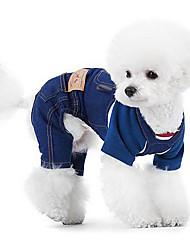 Chien Combinaison-pantalon Blanc Vêtements pour Chien Hiver Printemps/Automne Jeans Mode cow-boy