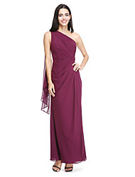 LAN TING BRIDE Watteau Train One Shoulder Bridesmaid Dress - Elegant Sleeveless Chiffon