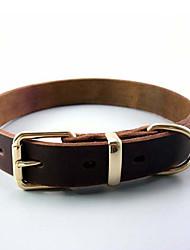 Chat / Chien Colliers Ajustable/Réglable Solide Marron Vrai cuir