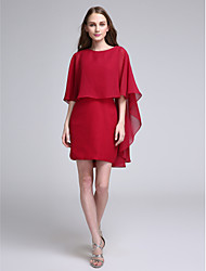 LAN TING BRIDE Short / Mini Jewel Bridesmaid Dress - Elegant Half Sleeve Chiffon