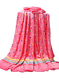 Bedtoppings Blanket Flannel Coral Fleece Queen Size 200x230cm Pink Dot Prints 210GSM