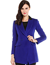 CANTO MOTTO Women's Going out Simple CoatSolid Peaked Lapel Long Sleeve Fall Blue Wool Opaque