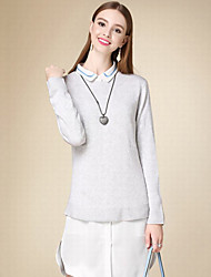 Damen Lang Pullover-Lässig/Alltäglich Einfach Solide Grau Rundhalsausschnitt Langarm Baumwolle Herbst Mittel Dünn Unelastisch