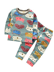 Girl's Casual/Daily Animal Print Clothing Set,Cotton Spring / Fall Blue / Gray