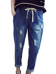 Women's Solid Blue Jeans / Slim PantsSimple Winter