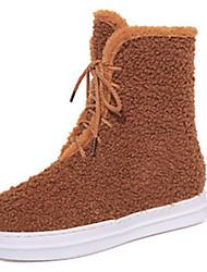 Women's Boots Fall Winter Comfort PU Outdoor Casual Flat Heel Lace-up Black Brown Gray Fitness & Cross Training Walking