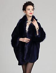 Damen Lang Mantel / Capes-Übergröße Retro Patchwork Blau Rot Beige Schwarz Lila V-Ausschnitt Langarm Wolle Acryl Winter Mittel