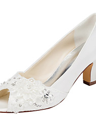 Damen-High Heels-Hochzeit / Kleid / Party & Festivität-Stretch - Satin-Blockabsatz-Others-Elfenbein / Weiß