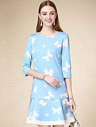 DOF Women's Casual/Daily Simple A Line DressAnimal Print Round Neck Above Knee  Sleeve Blue Cotton Fall High