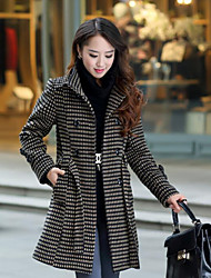 Women's Plus Size / Casual/Daily Simple Coat,Houndstooth Long Sleeve Winter White / Brown Wool / Others Medium
