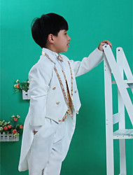 Polyester Ring Bearer Suit - Five-piece Suit Pieces Includes  Jacket / Shirt / Vest / Pants / Waist cummerbund / Bow Tie