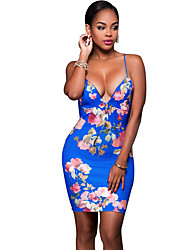 Women's Casual/Daily / Club Sexy / Vintage Slim Backless  Bodycon DressFloral Strap Above Knee Sleeveless Mid Rise