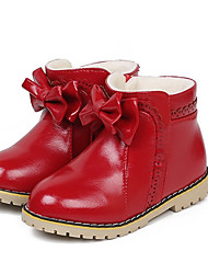 Girl's Boots Spring / Fall Snow Boots PU Casual Flat Heel Zipper Black / Pink / Red Others