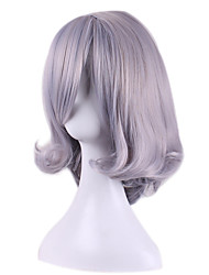 Capless Short Medium Side Bang Kinky Straight Synthetic Wigs for Women Grey Heat Resistant with Free Hair Net