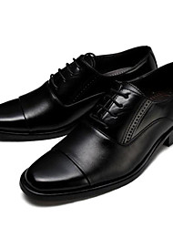 Men's Oxfords Comfort Formal Shoes Leather Fall Wedding Office & Career Comfort Formal Shoes Lace-up Flat Heel Black Brown Under 1in