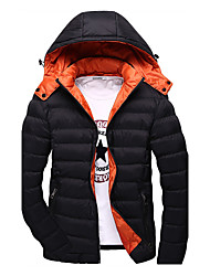 Men's Short Padded Coat,Simple / Street chic Plus Size / Casual/Daily / Formal Solid-Polyester Polyester Long Sleeve StandBlue / Red /