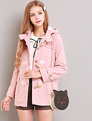 Linjou Women's Going out Cute CoatSolid Hooded Long Sleeve Winter Pink Polyester Medium
