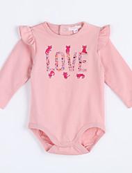 малыш Блуза-На каждый день,Однотонный,Хлопок,Осень-Розовый