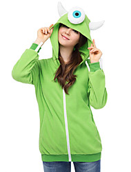 Cute Mike Wazowski Hoodie Jacket Polar Fleece Kigurumi  Casual Top Cosplay Costume Adult Unisex