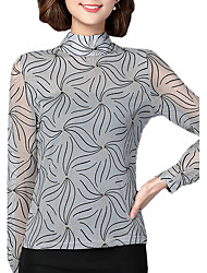 Spring Fall Go out Casual Women's Tops Fashion Wild Stand Collar Long Sleeve Gauze Blouse