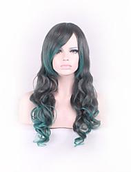 preto / verde cacheados recurso ombre perucas materiais para estilo mulheres mostrado cor Perucas de Carnaval cosplay