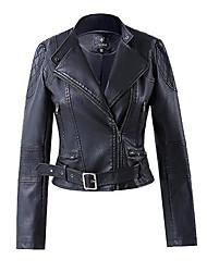 Women's Casual/Daily Simple Jackets,Floral Shirt Collar Long Sleeve Winter Black PU Medium