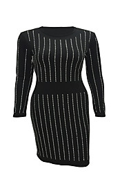 Women's Going out / Party/Cocktail Sexy / Simple Bodycon DressStriped / Letter Round Neck Knee-length Long