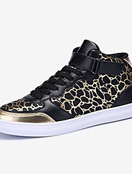 Men's Sneakers Fall Winter Comfort PU Casual Flat Heel Metallic toe Black Gray Black and Gold Royal Blue Other