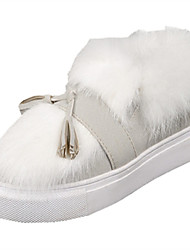 Women's Flats Spring Fall Winter Comfort Leather Fur Casual Flat Heel Tassel White Other