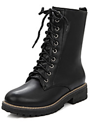 Черный-Женский-Для праздника Повседневный-Дерматин-На низком каблуке-Другое-Ботинки