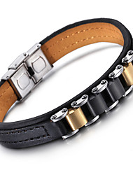 Kalen Hot Sale New Fashion Jewelry Wholesale Cheap Stainless Steel Black&Yellow Charm Leather Bracelets For Men