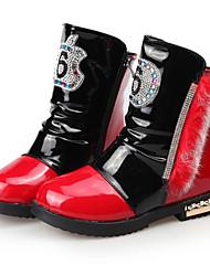 Girl's Boots Fall / Winter Snow Boots / Comfort PU Dress / Casual Flat Heel Zipper Pink / Red / White Walking