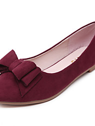 Women's Flats Spring Fall Winter Moccasin Fleece Office & Career Dress Casual Flat Heel Bowknot Flower Black Blue Burgundy Walking