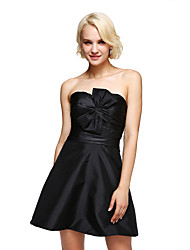 Cocktail Party Dress - Little Black Dress A-line Sweetheart Short / Mini Taffeta with Bow(s)
