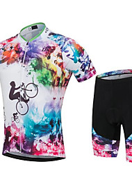 Sports Cycling Jersey with Shorts Unisex Short Sleeve BikeBreathable  Quick Dry  Anatomic Design  Ultraviolet Resistant  Wearable