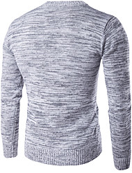 Men's Casual/Daily Active Regular Cardigan,Solid Round Neck Long Sleeve Cotton Spring Medium Micro-elastic