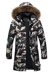 Men's Long Down Coat,Simple Casual/Daily Solid-Polyester White Duck Down Long Sleeve Hooded Green