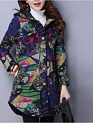 Manteau Femme,Géométrique / camouflage Sortie / Décontracté / Quotidien Vintage Manches Longues Capuche Multi-couleur Coton Epais