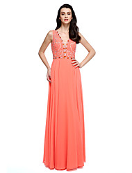 TS Couture® Prom  Formal Evening Dress Ball Gown V-neck Floor-length Chiffon / Charmeuse with Beading
