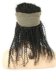 Pre Plucked Malaysian Lace Frontal Closure 360 Virgin Hair Kinky Curl 360 Lace Band Frontals with Baby Hair Natural