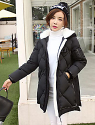 Пальто Простое Обычная Пуховик Женский,Однотонный На каждый день Полиэстер Пух белого гуся,Длинный рукав Черный