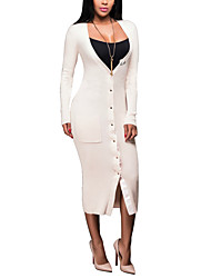 Women's Going out / Party / Club Sexy / Simple Bodycon DressSolid Asymmetrical Midi Long Sleeve Beige / Black
